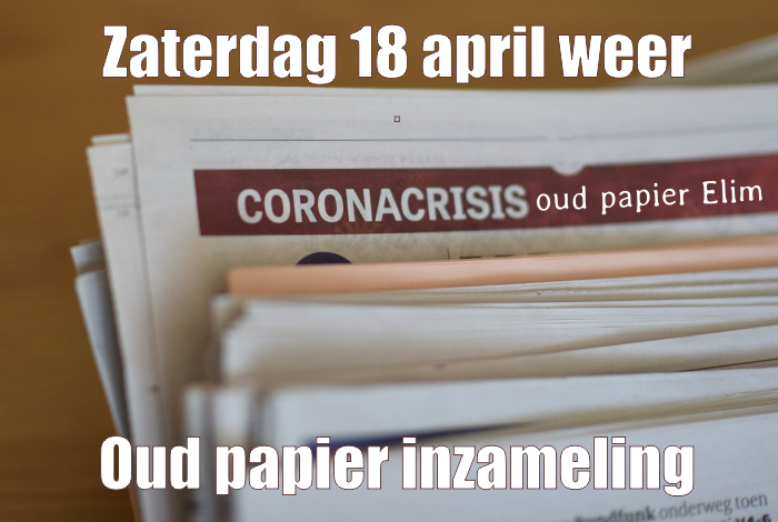 Oudpapier inzameling 18 april